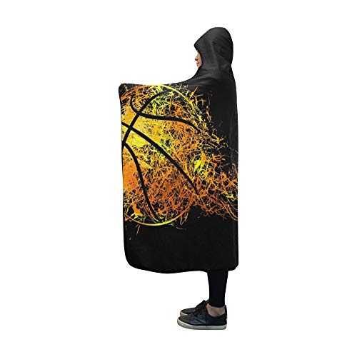 Basketball Hooded (AIKENING Hooded Blanket Basketball Sports Modern Banner Blanket 60x50 Inch Comfotable Hooded Throw Wrap)