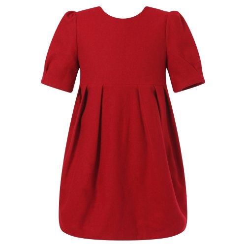 Richie House Girl's Red Velvet Pleated Dress RH1012-B-11/12-FBA