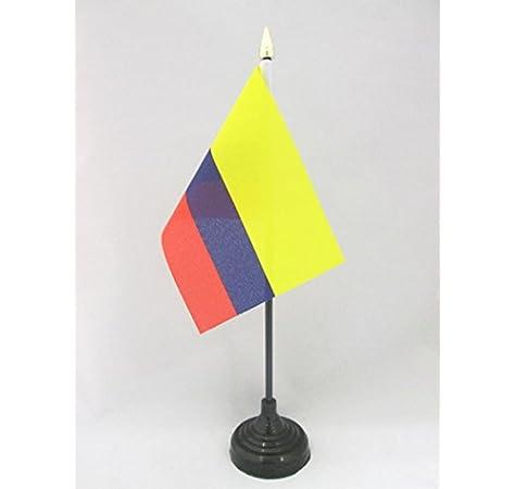 AZ FLAG Bandera de Mesa de Colombia 15x10cm - BANDERINA de DESPACHO Colombiana 10 x 15 cm Punta Dorada: Amazon.es: Jardín
