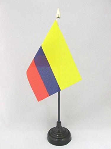 AZ FLAG TISCHFLAGGE KOLUMBIEN 15x10cm goldene splitze flaggen KOLUMBIANISCHE TISCHFAHNE 10 x 15 cm