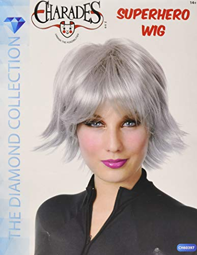 Charades Women's Super Hero Wig, White, One Size -