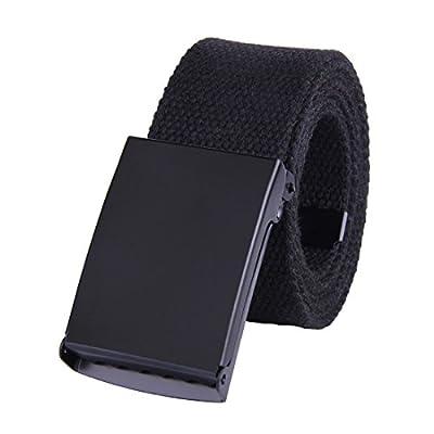 "JINIU Canvas Web Belt Military Style Black Buckle solid color 51"" Long 1.5"" wide"