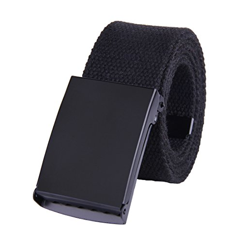 JINIU Canvas Web Belt Military Style Black Buckle solid color 51 Long 1.5 wide CAB1 BLACK