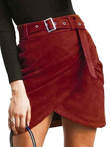 Missy Chilli Women's High Waist Suede Mini Skirt Belt Winter Bodycon Wrap Skirt Burgundy 10 ()