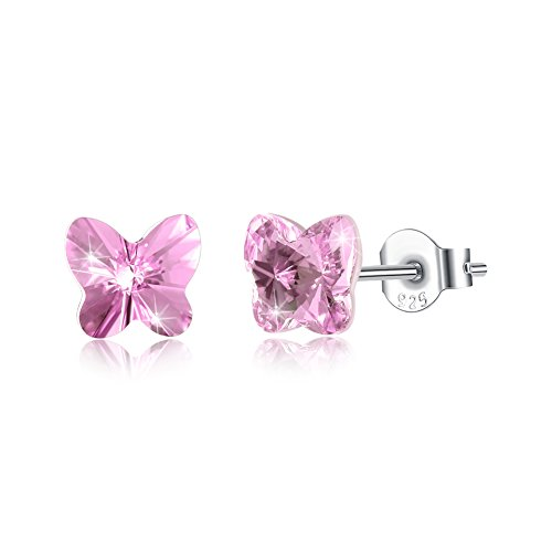 Tiny Sterling Silver Butterfly Stud Earrings for Women Girl Kids Mini Butterfly Hypoallergenic Earrings Made with Swarovski Crystals, by DreamSter (Pink)