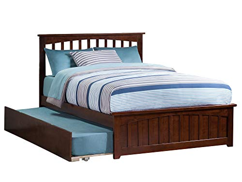 Mission Bed with Matching Foot Board and Trundle, Full, Antique Walnut