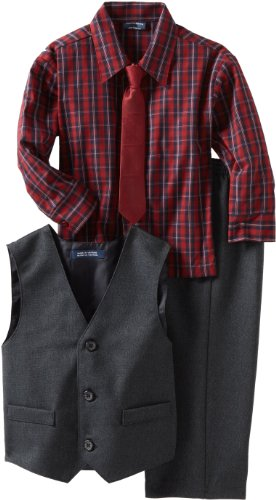 IZOD Kids Little Boys' Three Piece Dress Vest Set, Navy, 3T