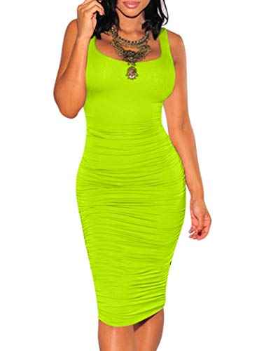 (BEAGIMEG Women's Sexy Ruched Bodycon Casual Solid Sleeveless Tank Midi Dress Fluorescent)