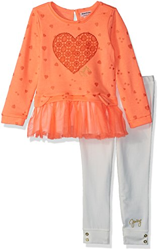 Juicy Couture Girls' Big 2 Pieces Long Sleeves Tunic Set, Print/egret, 8/10 (Juicy Couture Print Dress)
