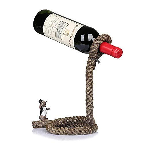 Hemp Rope Suspension Wine Rack Rabbit Wine Rack Hemp Rope Statue Resin Handicrafts Gifts Souvenirs Home Decorations,hempcordage