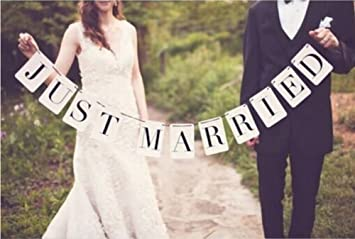 Amazon just married vintage wedding signs banner party just married vintage wedding signs banner party decorations garland photo props junglespirit Gallery