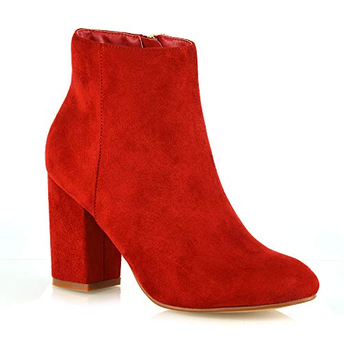 ESSEX GLAM Womens Casual Block Mid High Heel Smart Ankle Boots (8 B(M) US, RED Faux Suede)