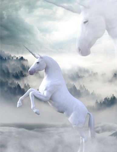 Unicorns in the Mist Notebook: White Unicorns Notebook (Journal Composition Book (8.5 x 11
