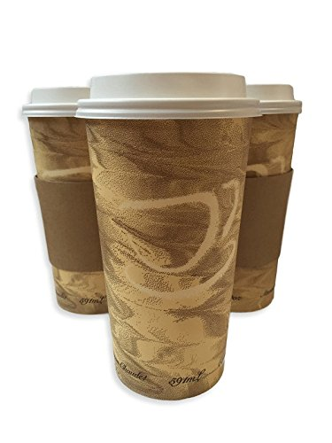 24oz Hot Paper Cups with Lids and Sleeves 25 Pack