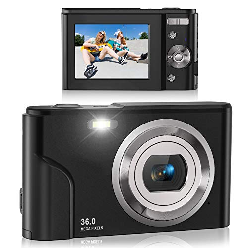 Digital Camera, Lecran FHD 1080P 36.0 Mega Pixels Vlogging Camera with 16X Digital Zoom, LCD Screen, Compact Portable Mini Cameras for Students, Teens, Kids (Black)