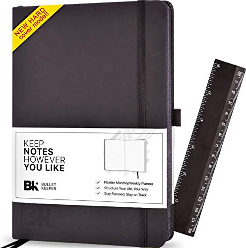 Undated Planner Daily/Weekly / Monthly Planner Organizer - A5 Non-Dated 12 Month Academic Agenda by Bullet Keeper, Black Leather Hardcover (A5)