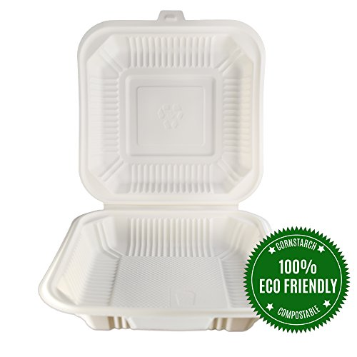 White 3 Compartment Hinged Lid (Food Containers by HeloGreen | Hinged Biodegradable Cornstarch Microwave Safe To Go Containers - Save the Environment - 8