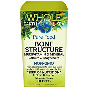 Whole Earth & Sea - Bone Structure Multivitamin & Mineral, Plant-Based Support for Strong, Healthy Bones with Plant Sourced Calcium, Magnesium, and Vitamin D, Vegan, Gluten Free, 60 Tablets