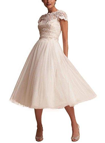 Elfenbein Hochzeitskleider Spitze Applikation Damen Abendkleid Teelänge Brautkleider Elegant Beyonddress Brautmode vW7zwq4PqS