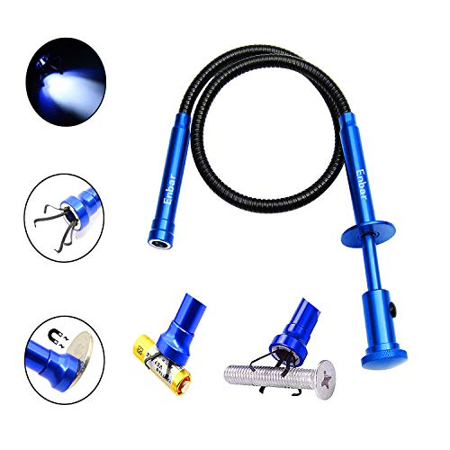 Directional four-claw magnetic pick-up tool with bright LED light retractable magnet pickup for any orientation. (blue)