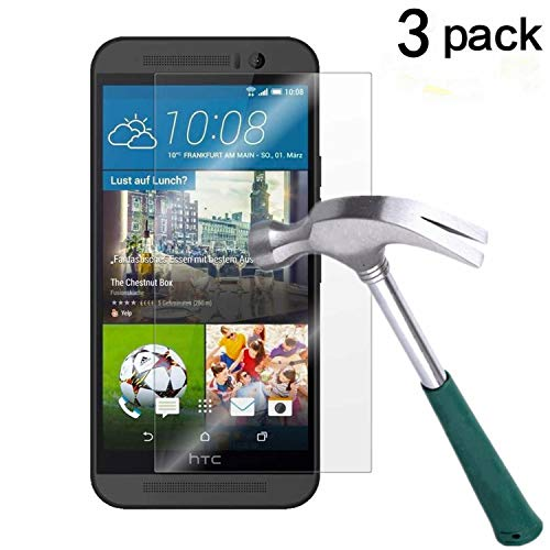 HTC One M9 Screen Protector, TANTEK [Bubble-Free][HD-Clear][Anti-Scratch][Anti-Glare][Anti-Fingerprint] Tempered Glass Screen Protector for HTC One M9 / HTC M9 [2015],-[3Pack] (Htc One Screen Protectors)
