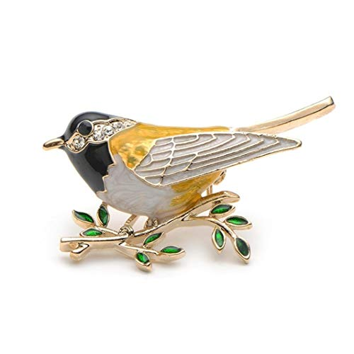 YouCY Bird Leaves Branch Brooch Rhinestone Enamel Cartoon Animal Brooch Accessories Wedding Brooches Pin Jewelry Gifts For Women Teen Girls,Black