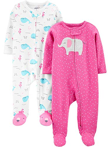 Simple Joys by Carter's Girls' 2-Pack Cotton Footed Sleep and Play, pink elephant/Whales, 0-3 Months