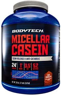 BodyTech Micellar Casein Protein Powder, Slow Release for Overnight Muscle Recovery 24 Grams of Protein per Serving Rich Chocolate 4 Pound