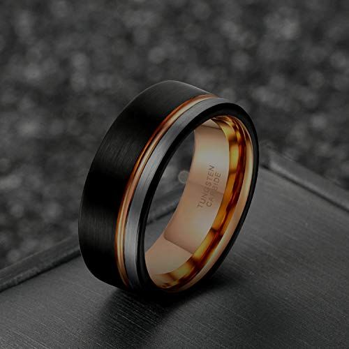 8mm Tungsten Carbide Wedding Ring Band for Men Women Blue Grooved Line Two Tone Brushed Comfort Fit Size 11 by Greenpod (Image #1)