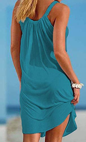 Cover Swimsuit Dress Acid up Blue Sleeveless Summer Bikini Mini Pleated Beach Camisunny Casual Women Relaxed PwqBf4
