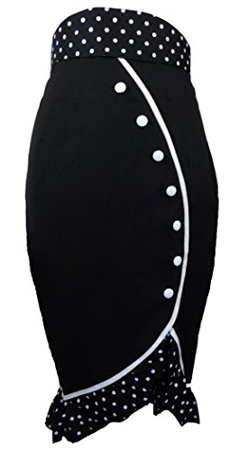 -The Deadly Tulip- Black Pencil 40s 50s Retro PinUp Polka Dot Vintage Style Skirt (MD)