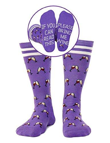 Saucey Socks - NEW! Please Bring Me Wine Socks (Medium (9-11), WINE - Purple with Toasting Wine - Glasses Me