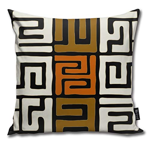 """Kuba Cloth Inspired Earth Colors Geometric Funny Square Pillow Cases Cushion Cover for Bedroom Living Room Decorative 18"""" x 18"""""""