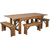 Flash Furniture HERCULES Series 7 x 40 Antique Rustic Folding Farm Table and Four Bench Set