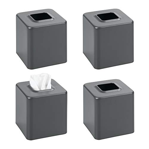 mDesign Modern Square Metal Paper Facial Tissue Box Cover Holder for Bathroom Vanity Countertops, Bedroom Dressers, Night Stands, Desks and Tables, 4 Pack - Matte Slate/Gray (Iron Square Tables Nesting)