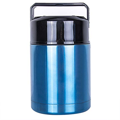Meich Large Thermos Vacuum Insulated Food Jar for Cooking 35 oz, 100% Stainless Steel Interior Leak Proof Soup Jar & Food Storage Container, BM02 Blue