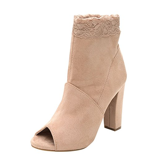 Bamboo Womens Open Peep Toe Floral Lace Collar Ankle Chunky Black High Heel Booties Boot 6 Nude