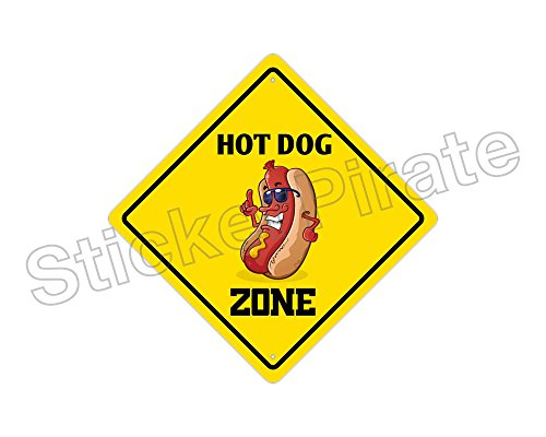 Hot Dog Zone Funny Metal Novelty Sign (Hot Dog Metal Sign)