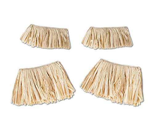 Party Central Pack of 48 Tropical Hawaiian Luau Natural Raffia Grass Arm and Leg Band Costume Ties