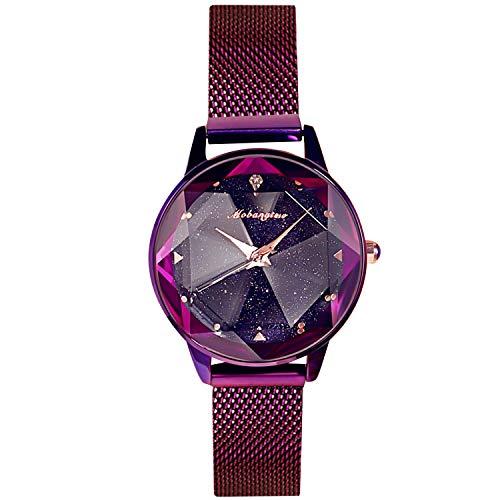 RORIOS Damen Uhren Armbanduhren Leuchtenden Sternenklarer Himmel Dial Damenuhr Armbanduhr Analog Quarz Ultradünne Edelstahl Mesh Women Watches