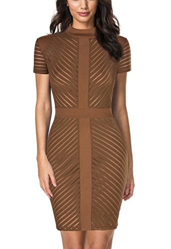 REPHYLLIS Women's Vintage Sexy Clubwear Night Cocktail Party Dress (XXL, Brown)