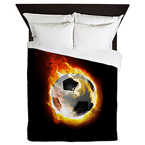 CafePress - Soccer Fire Ball Queen Duvet Cover - Queen Duvet Cover, Printed Comforter Cover, Unique Bedding, Microfiber by CafePress