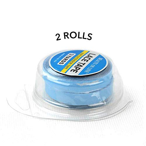 2 Rolls Lace Front Hair System US Tape Double Side Adhesive Tape For Hair Extensions/Wigs/Toupee 8.5cmx3Yards Strong Double Tape Blue Color (Blue)