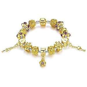 Gold Tone Bracelet Snake Chain Heart &Key Queen Beaded Charm Bracelets Rhinestone Bangles for Women Teen Girls Birthday Gift for Girl and Daughter 18cm