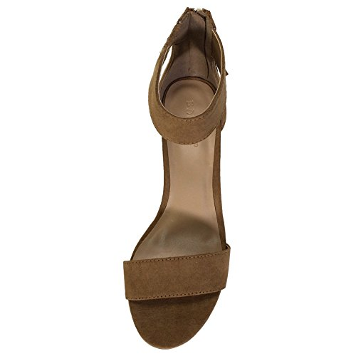 ... Bambus Kvinners Enkelt Bånd Blokk Hæl Sandal Med Forstropp Tan  Imitasjon Av Semsket