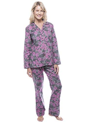 Women's Cotton Flannel Pajama Set - Floral Grey/Pink - 2XL