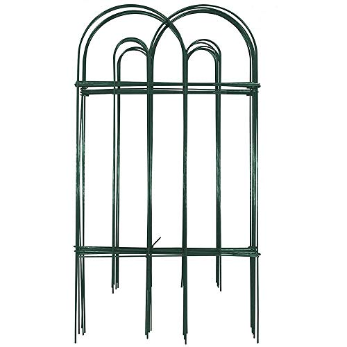 Amagabeli Decorative Garden Fence 32 in x 20 ft Rustproof Green Iron Landscape Wire Folding Fencing Ornamental Panel Border Edge Section Edging Patio Fences Flower Bed Animal Barrier for Dog Outdoor ()