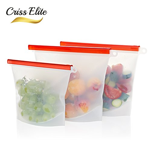 Price comparison product image Reusable Silicone Food Storage Bags 3 Pack - 2 x Large Size 50 oz,  1 x Small Size 30 oz,  Food Grade BPA-Free,  Airtight Zip Seal,  Leak Proof,  Keeps Fruits and Vegetables Fresh - Criss Elite