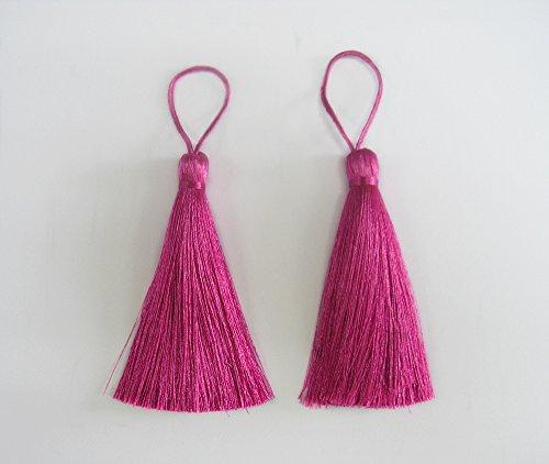 Fuchsia Hot Pink Long Tassel Silk Fringe Trim Jewelry Making DIY Pendant Craft Sewing Embellishments 2 Pieces