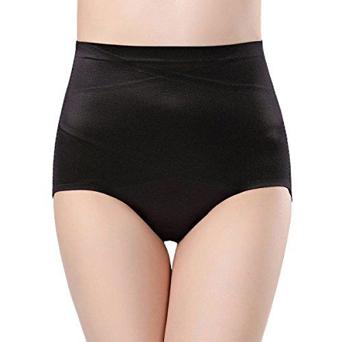 Medio Cintura Mujer Abdomen Levante Las Caderas Transpirable Suave Atractivo Cómodo La Salud Las Bragas 2 Pack Black+Black